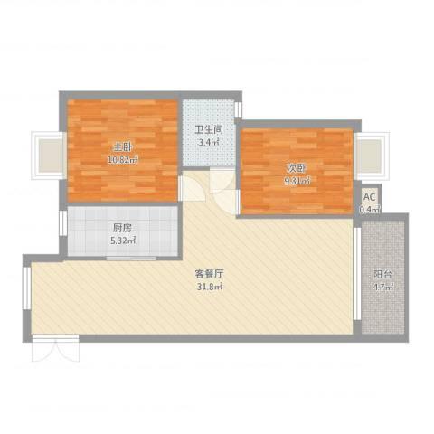 金领家族2室2厅1卫1厨82.00㎡户型图