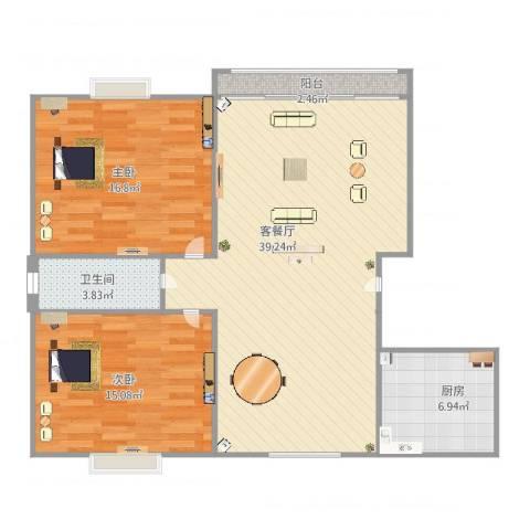 双山小区2室2厅1卫1厨90.00㎡户型图