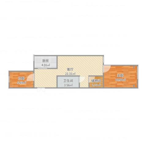 甘露园南里三单元5号楼501室2室1厅1卫1厨60.00㎡户型图