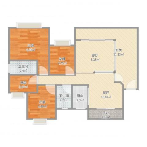 凯茵新城雅湖居4室2厅2卫1厨78.00㎡户型图