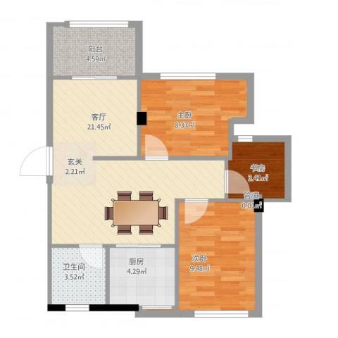 龙山山庄3室1厅1卫1厨78.00㎡户型图