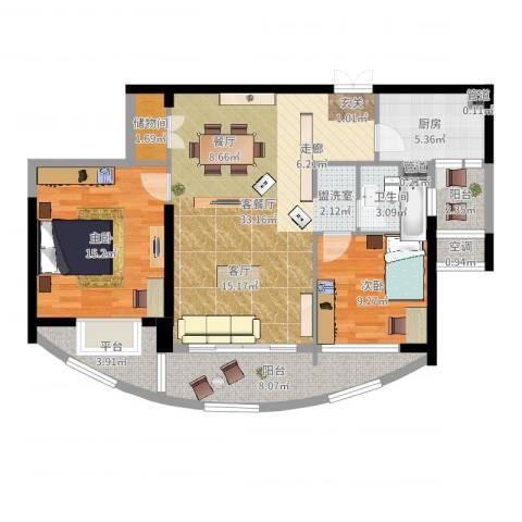 星雨华府2室2厅1卫1厨104.00㎡户型图