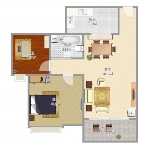 夏逸庭院2室1厅1卫1厨85.00㎡户型图