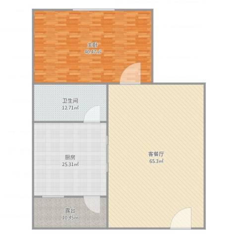 紫荆楼5-403A1室2厅1卫1厨193.00㎡户型图
