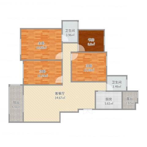 天明城4室2厅2卫1厨139.00㎡户型图