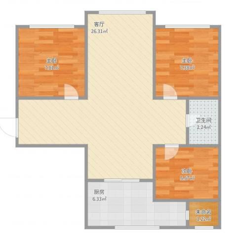 东苑小区3室1厅1卫1厨77.00㎡户型图