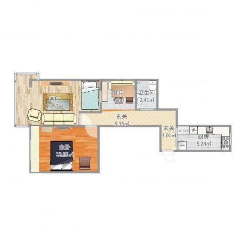 模式口西里1室1厅1卫1厨60.00㎡户型图