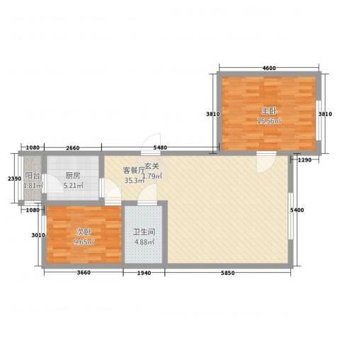 曙光新城2室2厅1卫1厨103.00㎡户型图