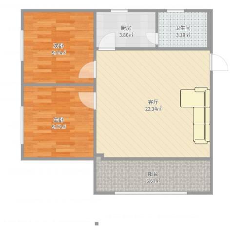 棠下远洋宿舍2室1厅1卫1厨68.00㎡户型图