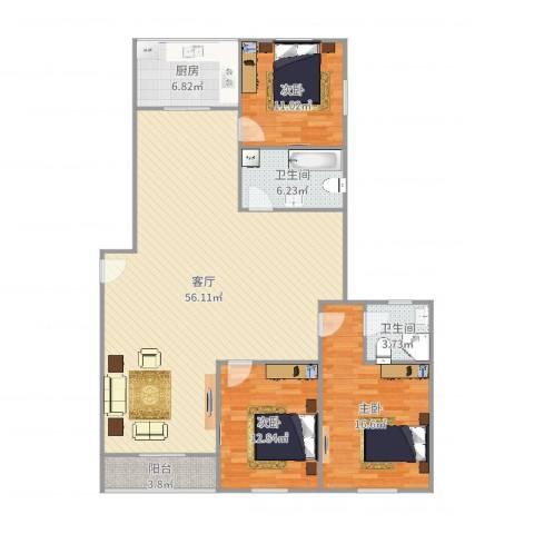 柳埠小区3室1厅2卫1厨146.00㎡户型图
