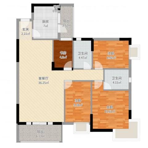 丰泰裕田花园4室2厅2卫1厨123.00㎡户型图