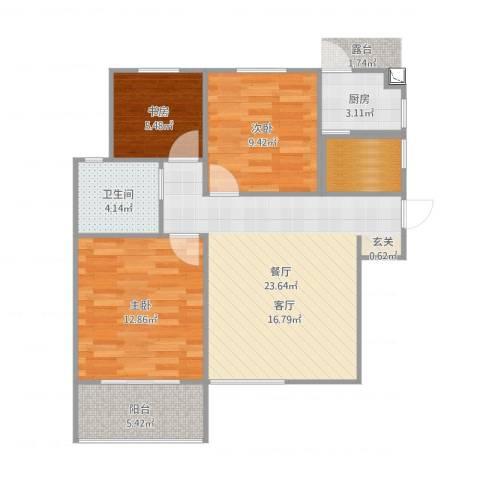 九州理想城3室1厅1卫1厨83.00㎡户型图