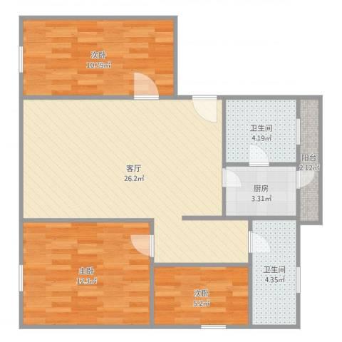 星河名居3室1厅2卫1厨93.00㎡户型图
