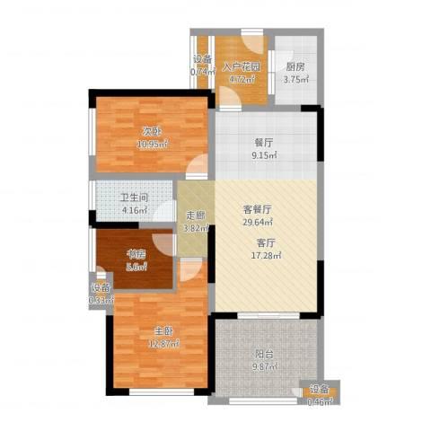 绿城上岛3室2厅1卫1厨104.00㎡户型图