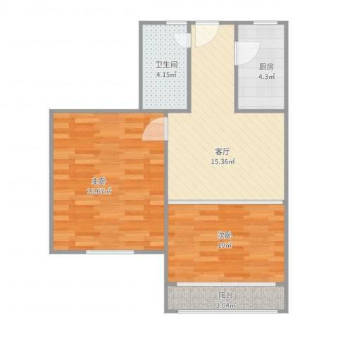 艾南小区2室1厅1卫1厨73.00㎡户型图