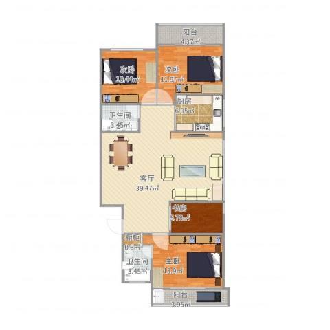 大金门花园4室1厅2卫1厨139.00㎡户型图
