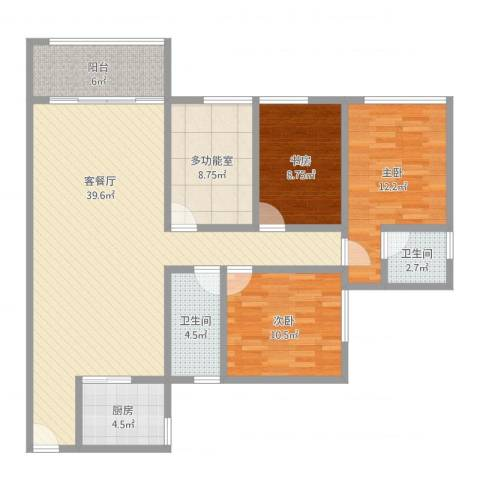 中央华庭3室2厅2卫1厨138.00㎡户型图