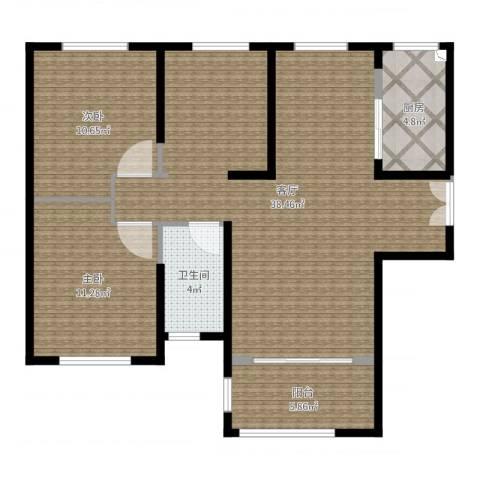 力高阳光海岸2室1厅1卫1厨94.00㎡户型图