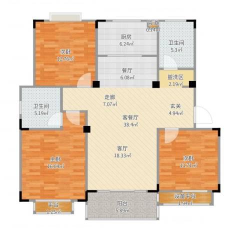 惠泽云锦城3室2厅5卫1厨131.00㎡户型图