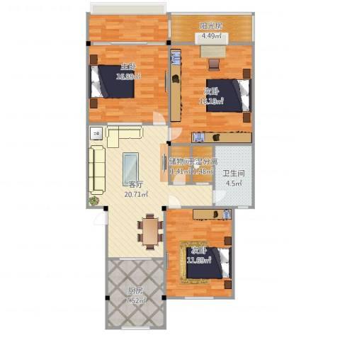 兰亭绿源3室1厅1卫1厨106.00㎡户型图