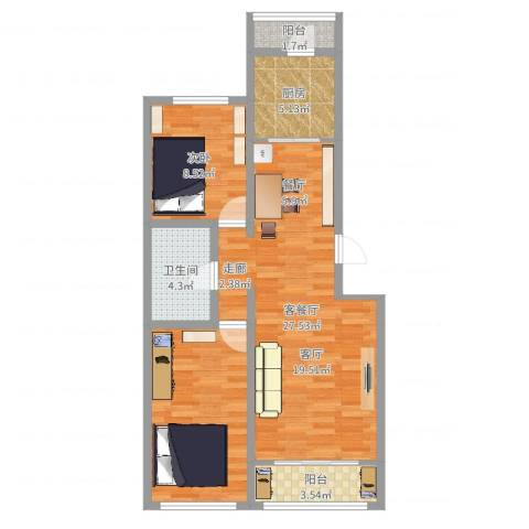 天泰北双苑小区1室2厅1卫1厨80.00㎡户型图