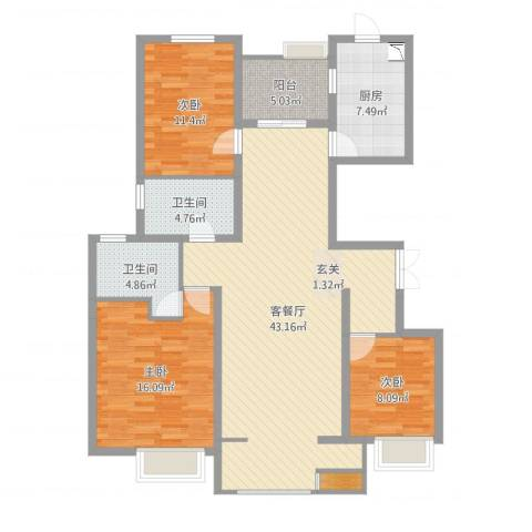 安阳万达广场3室2厅2卫1厨137.00㎡户型图