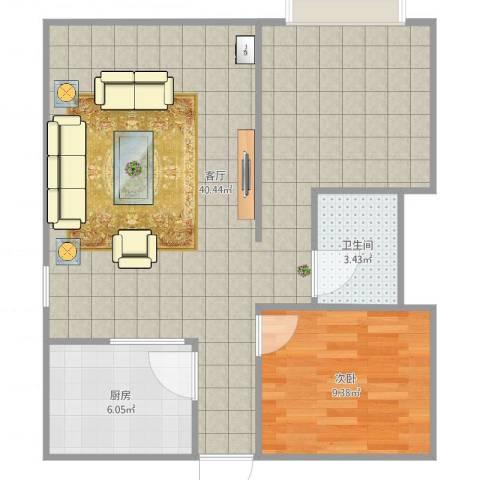 水云间1室1厅1卫1厨74.00㎡户型图