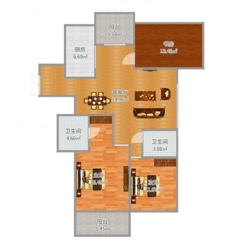 上东名筑3室2厅2卫1厨130.00㎡户型图