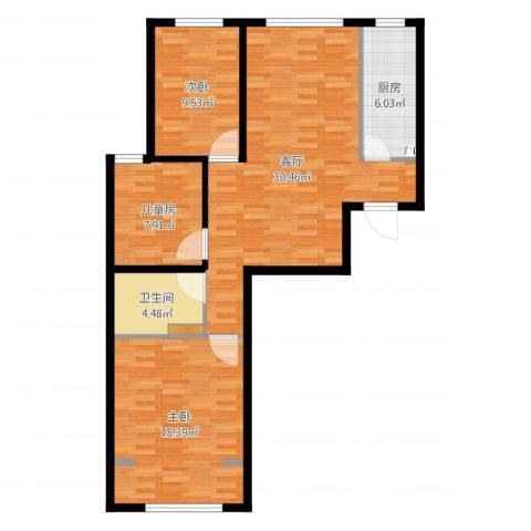 航天城小区3室1厅1卫1厨96.00㎡户型图