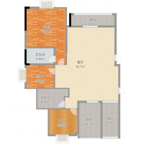 中海国际社区蓝岸2室1厅2卫1厨207.00㎡户型图