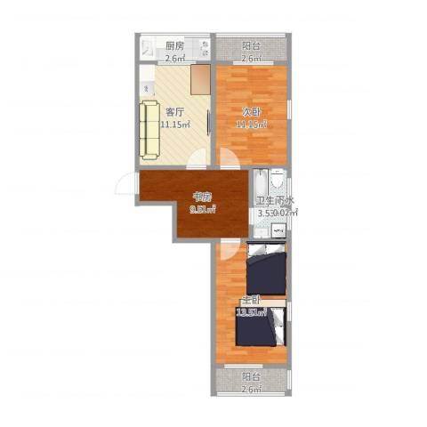 浦口西里3室1厅1卫1厨71.00㎡户型图