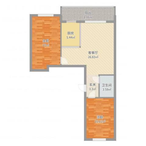 峰尚福成二期2室2厅1卫2厨92.00㎡户型图
