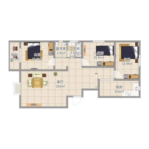 逸升佳苑3室3厅1卫1厨115.00㎡户型图