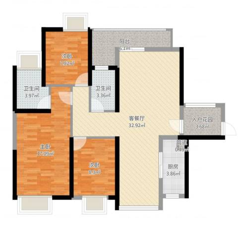 锦龙又一城二期君誉3室2厅2卫1厨109.00㎡户型图