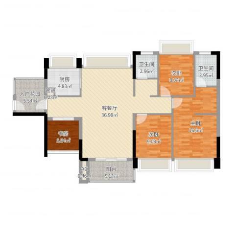 中熙松湖国际4室2厅2卫1厨125.00㎡户型图