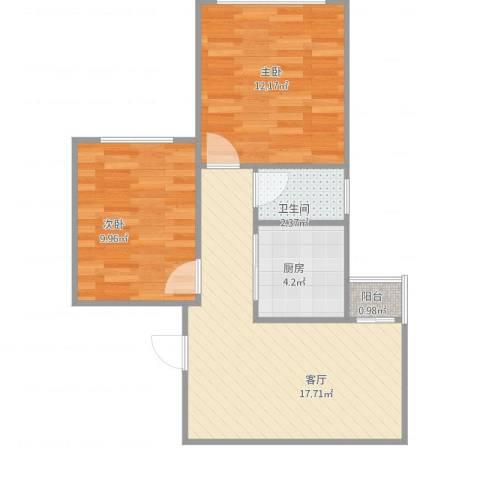 三箭瑞福苑2室1厅1卫1厨64.00㎡户型图