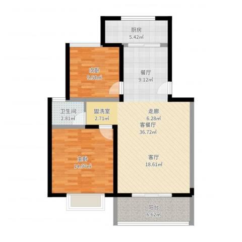 金海岸花园2室2厅1卫1厨95.00㎡户型图
