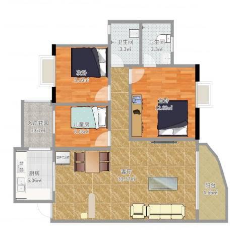 丰泽园3室1厅2卫1厨100.00㎡户型图