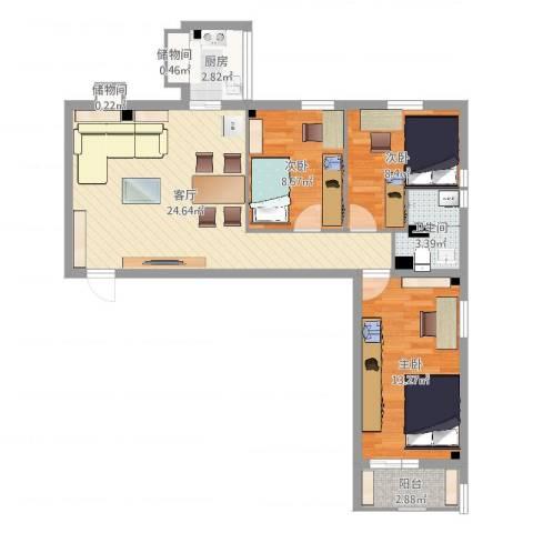 花园路3号院3室1厅1卫1厨81.00㎡户型图
