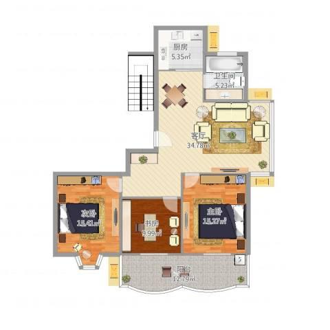 怡江春色3室1厅1卫1厨124.00㎡户型图