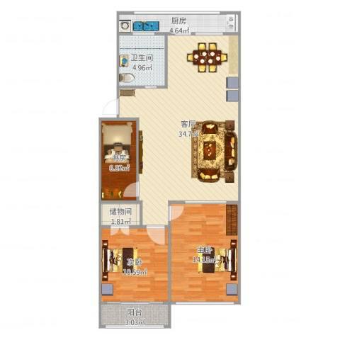 宏园里4-43室1厅1卫1厨100.00㎡户型图