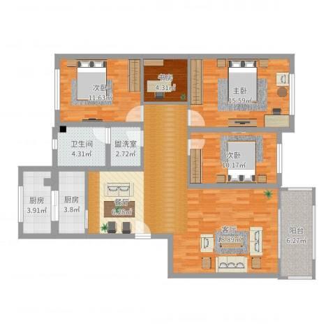 华明家园4室2厅1卫2厨128.00㎡户型图