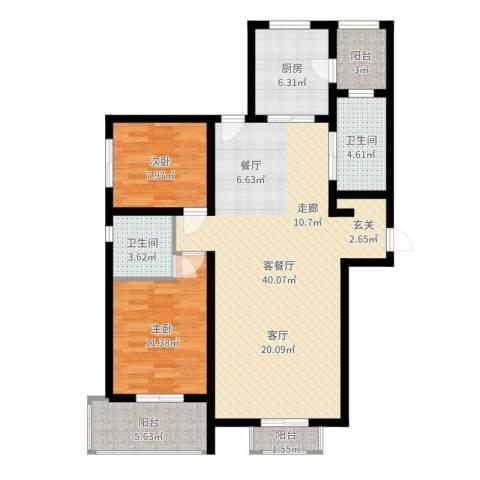 兰汀朝阳2室2厅2卫1厨105.00㎡户型图