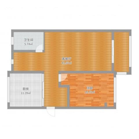 绿洲香格丽花园1室2厅1卫1厨102.00㎡户型图
