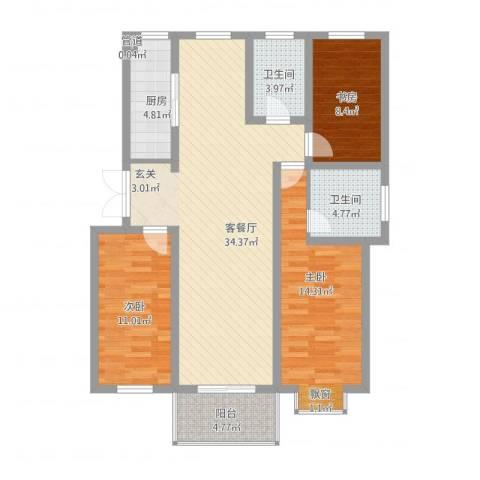 四季新城北苑3室2厅2卫1厨125.00㎡户型图