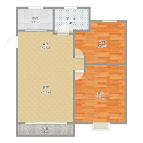 东陆新村五街坊2室1厅1卫1厨65.00㎡户型图
