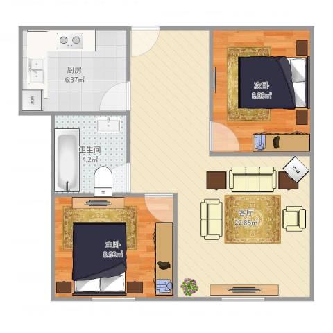 457525淞泽家园八区2室1厅1卫1厨68.00㎡户型图