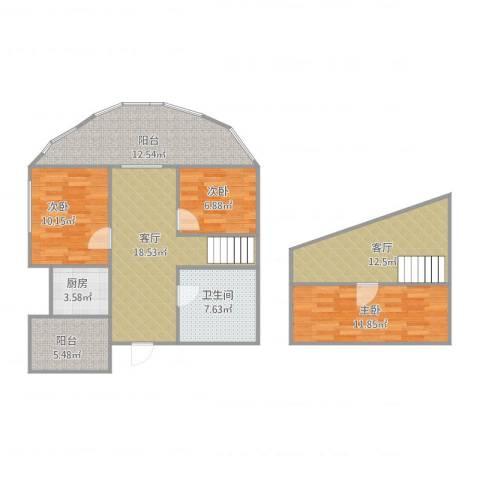 金桥商务公寓3室2厅1卫1厨121.00㎡户型图