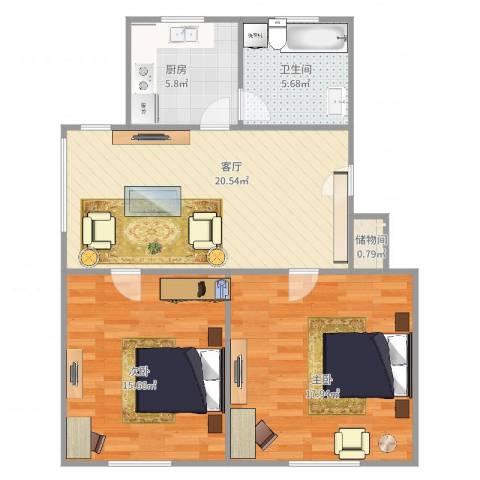 齐河花苑2室1厅1卫1厨89.00㎡户型图