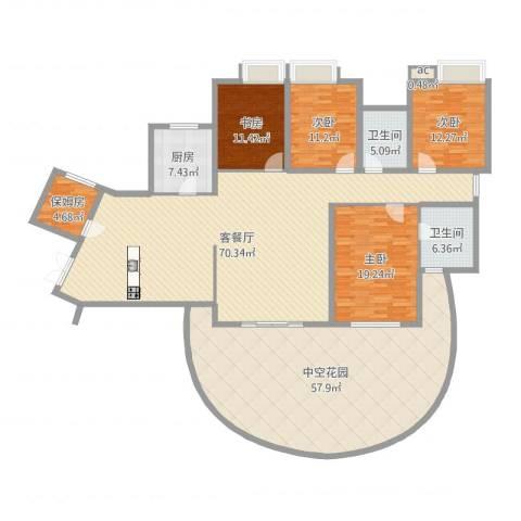 湘江豪庭4室2厅2卫1厨258.00㎡户型图
